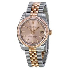 Rolex DateJust Oyster Perpetual Lady 31 Automatic Pink Rose Dial Stainless Steel and 18kt Pink Gold Ladies Watch 178271PSJ. Stainless steel case with a stainless steel jubilee bracelet with 18kt pink gold center loinks. Fixed fluted 18kt pink gold bezel. Pink rose dial with pink gold hands and index hour markers. Minute markers around the outer rim. Dial Type: Analog. Luminescent hands and markers. Date display at the 3 o'clock position. Automatic movement. Scratch resistant sapphire...