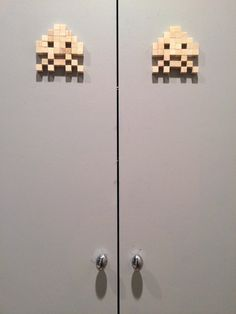 Space Invaders wooden home decoration
