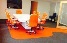 Orange accent office carpet