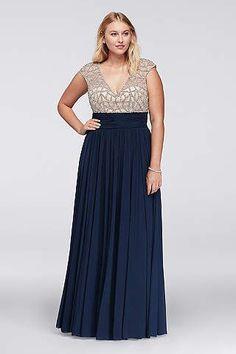 Davids Bridal-Jeweled Bodice Plus Size Dress with Cap Sleeves