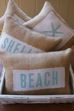 burlap beach pillows these would be so cute as a decoration in a beach house! Coastal Homes, Coastal Decor, Diy Beachy Decor, Coastal Living, Coastal Cottage, Coastal Style, Cottage Chic, Rustic Decor, Deco Marine