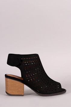 Qupid Perforated Peep Toe  Block Heel Bootie