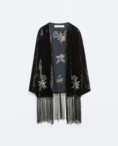 FRINGED EMBROIDERED VELVET KIMONO from Zara