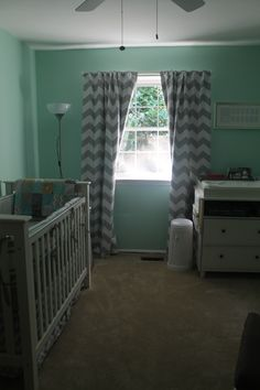 mint green grey chevron mustache nursery