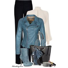 """Blue leather jacket"" by trendsbybren on Polyvore"