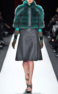 CAROLINA HERRERA Emerald Green Sable Fur Coat with Contrast Grey Wool Inserts $34,990 | Moda Operandi