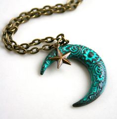 Hand Painted Brass Moon and Star Necklace, starting at $6 in the Jewelry auction now!