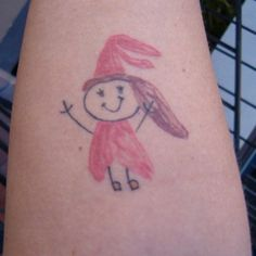 My tattoo on the inside of my right forearm. This is a picture of me that my daughter drew. The tattoo artist shrunk it down and inked it on just as she had drawn it.