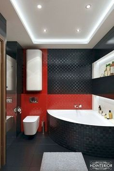 cool 50 Magnificient Red Wall Design Ideas For Bathroom
