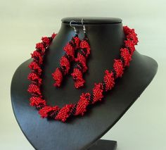 Handmade spiral Seed Beads Beaded Red Black Necklace by 7771, $25.00