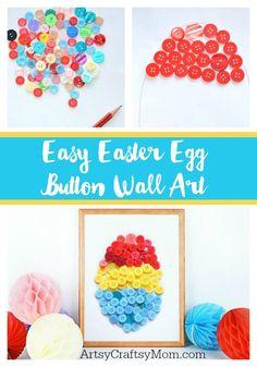 Easy Easter Egg Button Wall Art for Kids