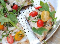 whipped feta, marinated tomato and chicken pizza