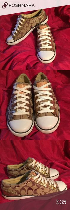 Coach shoes Gently worn authentic tan logo canvas Coach sneakers. Comfortable, and easy to wear with any outfit. Pair with jeans or a cute dress for a causal look. Shoes Sneakers