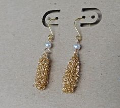 Gold crochet drop earrings. Handmade crochet dangle by ByDrora, $25.00