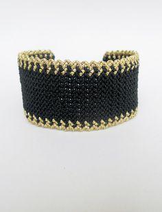 Brazalete de macramé pulsera de oro negro brazalete de Zig