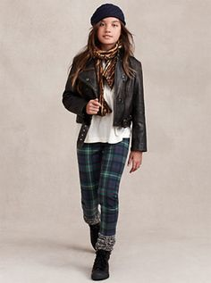 Favorite looks from Ralph Lauren Kids: Tartan skinny jeans + motorcycle jacket