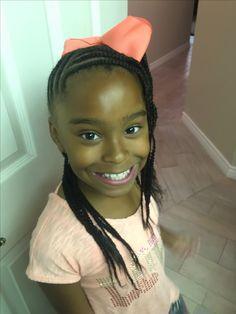 Simple cornrows, braids, little girl braids, black hairstyles, beads, French braids for little girls