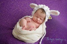 Newborn lamb hat. Lamb bonnet. Newborn. Easter by CrochetHarvest.  Image by Taryn Avery Photography, Colorado Springs newborn photographer.