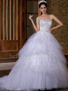 A-Line Ball Gown Princess Strapless Natural Waist Satin Tulle Wedding Dress - US$ 329.99 - Style WD6284 - Helene Bridal