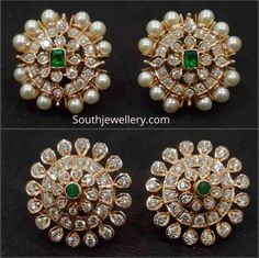 Jewellery Designs - Page 4 of 1563 - Latest Indian Jewellery Designs 2019 ~ 22 Carat Gold Jewellery one gram gold Jewelry Design Earrings, Gold Earrings Designs, Ear Jewelry, Gold Jewellery, Diamond Earrings Indian, Diamond Earing, Diamond Studs, Antique Jewellery Designs, Indian Jewelry Sets