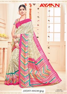 0963a56e90 Dressy Cream and Pink Online Indian Silk Saree Work :-Cream based Multicolr  Pallu Silk Saree Fabric - Silk Paired with the matching blouse piece.
