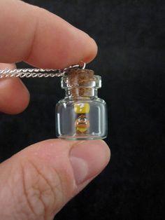Tiny Super Mario Goomba Bottle Necklace by egyptianruin on Etsy, $20.00