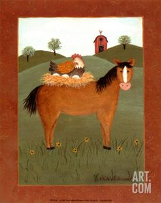 Horse with Hen Print by Valerie Wenk at Art.com