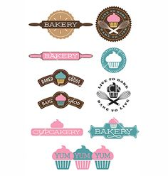 Set of 10 bakery and cupcake designs vector logo by fiftyfootelvis on VectorStock®