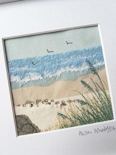 Textile Art 15270086226582852 - Seascape – Alison Whateley – Thimblestitch at Zoë's Source by Fiber Art Quilts, Textile Fiber Art, Textile Artists, Freehand Machine Embroidery, Embroidery Art, Deco Marine, Beach Quilt, Landscape Art Quilts, Fabric Postcards