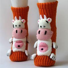 Cute 3D Cartoon Cow Animal Socks Anti-skidding Thicken Women Floor Socks $6.40 #Lovejoynet #Animal #Cartoon #Socks #Thick