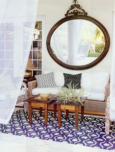 rug, pillows, outdoor mirror