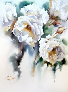 Fleurs by Jean Claude Papeix Watercolor And Ink, Watercolour Painting, Watercolor Flowers, Watercolours, Rose Art, Flower Art, Art Projects, White Roses, Florals