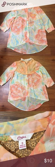 Candies Button Up Blouse Sheer, floral button up Blouse Candie's Tops Button Down Shirts