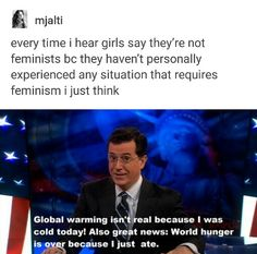 ▪️Clear, short and to the point▪️<< Exactly! I don't think I've every experienced any type of sexism (there probably were a few times but they were very minor) but I'm still a huge feminist because I know that other women are suffering! Pray For Venezuela, Women Rights, Intersectional Feminism, Pro Choice, Riot Grrrl, Equal Rights, Faith In Humanity, Social Issues, In Kindergarten