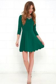 Lulus Exclusive! High in the sky and beautifully billowy, it's no wonder the Cumulonimbus Clouds Dark Green Skater Dress is named after a powerful storm cloud! Princess seams run down the flattering, stretch-knit bodice and into a fitted waist, before splaying out in a skater skirt. Flirty scalloped detailing adorns the hems at both the three-quarter sleeves and the twirl-worthy skirt! Hidden back zipper.