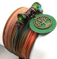 Silk Wrap Boho / Yoga bracelet by anjalicreations #hvnyteam