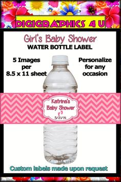 A printable Bottle Label just for you. You can print as many as you need and save money! This is for a customized JPG file of a Water Bottle Label - Baby First Christmas Ornament, Babies First Christmas, Girl Shower, Baby Shower, Twin Humor, Water Bottle Labels, Water Bottles, Vintage Sweets, Baby Girl Cards