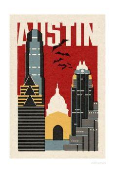 Austin, Texas - Woodblock Prints by Lantern Press at AllPosters.com