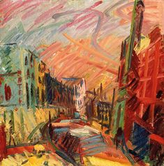 """artwork: """"Mornington Crescent – Summer Morning"""" by Frank Auerbach (b. Frank Auerbach, Francis Picabia, City Illustration, Royal College Of Art, Urban Landscape, Contemporary Paintings, Landscape Paintings, Landscapes, New Art"""
