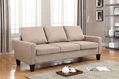 """Home Life 3 Person Contemporary Upholstered Linen Sofa, 77"""" Wide, Light Brown"""