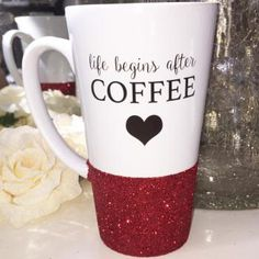 Life Begins After Coffee Glitter Latte Mug Latte Mugs, Projects To Try, Glitter, Coffee, Tableware, Gifts, Dinnerware, Presents, Dishes