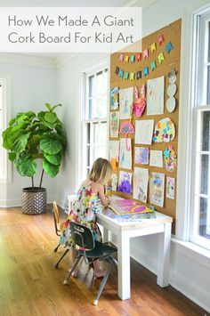 We created this DIY cork board wall for our kids' art out of store-bought cork tiles, becoming a perfect, high-impact display space above their art desk. Coin D'art, Diy Cork Board, Cork Boards, Cork Board Walls, Cork Board Ideas For Bedroom, Large Cork Board, Chalk Board, Deco Kids, Young House Love