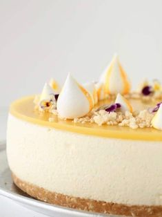 Cheesecake Decoration, Mango Cheesecake, Happy Kitchen, Salty Cake, Savoury Cake, Clean Eating Snacks, Yummy Cakes, Cupcake Cakes, Cake Decorating