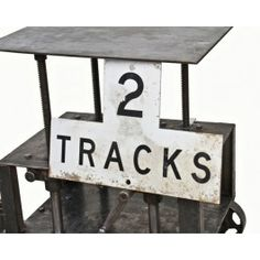"vintage american industrial single-sided die cut steel ""2 tracks"" advance warning railroad sign - fabricator unknown  UR #: UR-12256-11  urban remains chicago"