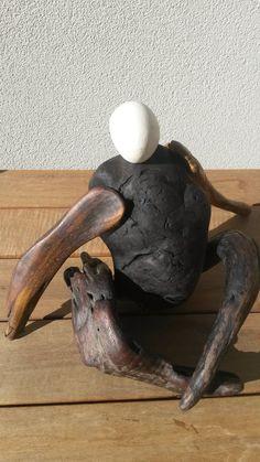 'Sedentary Man' $90 NZ Dollars NZ native driftwood and beach stone