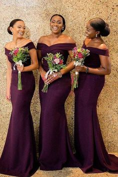 Modest Satin Off-the-shoulder Neckline Mermaid Bridesmaid Dresses Fabric: Satin Details: The dress is so elegant and attractive. It is made of satin. The sexy off-the-shoulder neckline bodice creates a splendid and lavish look. It also has a sweep train. Grape Bridesmaid Dresses, Off Shoulder Bridesmaid Dress, Wedding Bridesmaids, Wedding Dresses, Gown Wedding, Formal Wedding, Royal Blue Bridesmaids, Burgundy Bridesmaid, Off Shoulder Dresses