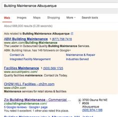 "Keyword ""building maintenance Albuquerque"" show Zia Building Maintenance as number one. Challenge is to get their website to rank as well. Right now it doesn't rank at all.  Map :  https://plus.google.com/107388257570739919613/about?gl=us=en   Website: http://ziabuildingmaintenance.com/"