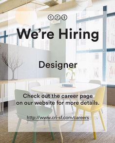CRI San Francisco is hiring! We are looking for a Designer to join our team who has experience in programming space planning typical development finish selection installation drawings 3Ds rendering and specifications. Apply on our website www.cri-sf.com  #design #designsf #interiordesign #designinspo #contractdesign #commercialdesign #interiors #interiorstyle #curation #interiordesignideas #interiordetails #interiordesignsf #furniture #furnituredesign #furnitureinspo #textiles #details…