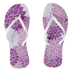 Bold and beautiful flowers flip flops - Durable Thong Style Hawaiian Beach Sandals By Talented Fashion & Graphic Designers - Purple Sandals, Beach Sandals, Strap Sandals, Flip Flop Sandals, Floral Flip Flops, White Flip Flops, Fashion Graphic, Fashion Design, Shades Of Purple