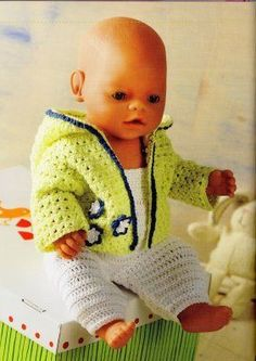 in de lente… Baby Born Clothes, Bitty Baby Clothes, American Girl Clothes, Crochet Doll Clothes, Knitted Dolls, Girl Dolls, Baby Dolls, Baby Born Kleidung, Baby Boy Cards Handmade